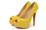 CL 14 cm yellow fish mouth pointed nailed sandals AAA