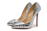 CL 12 cm Silve high heels with rivet