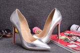CL 12 cm silver patent leather shoes AAA