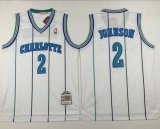 Mitchell And Ness Charlotte Hornets #2 Larry Johnson White Throwback Stitched NBA Jersey