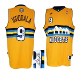 Autographed Denver Nuggets #9 Andre Iguodala Yellow Alternate Stitched NBA Jersey