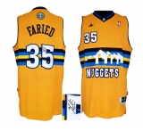 Autographed Denver Nuggets #35 Kenneth Faried Yellow Alternate Stitched NBA Jersey