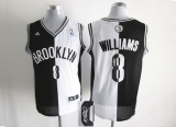 Brooklyn Nets #8 Deron Williams Black White Split Fashion Stitched NBA Autographed Jersey