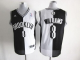 Brooklyn Nets #8 Deron Williams Black White Split Fashion Stitched NBA Jersey