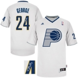 Autographed NBA New Indiana Pacers #24 Paul George White Stitched NBA Jersey