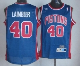 Detroit Pistons #40 Bill Laimbeer Blue Throwback Stitched NBA Jersey