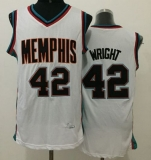 Memphis Grizzlies #42 Lorenzen Wright White Throwback Stitched NBA Jersey