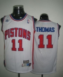 Throwback Detroit Pistons #11 Thomas White Stitched NBA Jersey