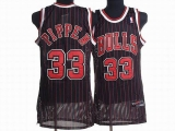 Chicago Bulls #33 Scottie Pippen Stitched Black Red Strip NBA Jersey