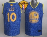 Golden State Warriors #10 David Lee Blue Crazy Light The Finals Patch Stitched NBA Jersey