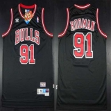 Chicago Bulls #91 Dennis Rodman Black Throwback Stitched NBA Jersey