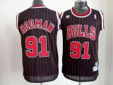 Chicago Bulls #91 Dennis Rodman Black With Red Strip Throwback Stitched NBA Jersey