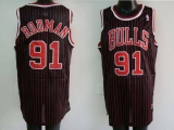 Chicago Bulls #91 Dennis Rodman Stitched Black Red Strip NBA Jersey
