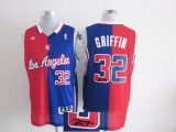 Los Angeles Clippers #32 Blake Griffin Red Blue Split Fashion Stitched NBA Autographed Jersey