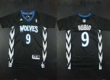 Minnesota Timberwolves #9 Ricky Rubio Black Alternate Stitched NBA Jersey