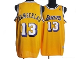 Mitchell and Ness Los Angeles Lakers #13 Wilt Chamberlain Stitched Yellow Throwback NBA Jersey
