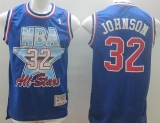Mitchell And Ness Los Angeles Lakers #32 Orlando Magic Johnson Blue 1993 All Star Stitched NBA Jersey