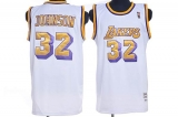 Mitchell and Ness Los Angeles Lakers #32 Orlando Magic Johnson Stitched White Throwback NBA Jersey