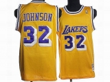 Mitchell and Ness Los Angeles Lakers #32 Orlando Magic Johnson Stitched Yellow Throwback NBA Jersey