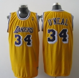 Mitchell And Ness Los Angeles Lakers #34 Shaquille O\'Neal Yellow Stitched NBA Jersey