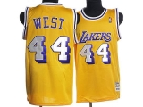 Mitchell and Ness Los Angeles Lakers #44 Jerry West Stitched Yellow Throwback NBA Jersey