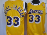 Mitchell&Ness Los Angeles Lakers #33 Abdul-Jabbar Yellow Throwback Stitched NBA Jersey