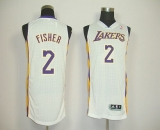 Revolution 30 Los Angeles Lakers #2 Derek Fisher White Stitched NBA Jersey