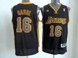 Revolution 30 Los Angeles Lakers #16 Pau Gasol Black Gold NO Stitched NBA Jersey