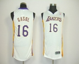 Revolution 30 Los Angeles Lakers #16 Pau Gasol White Stitched NBA Jersey