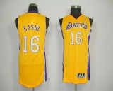 Revolution 30 Los Angeles Lakers #16 Pau Gasol Yellow Stitched NBA Jersey