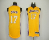 Revolution 30 Los Angeles Lakers #17 Andrew Bynum Yellow Stitched NBA Jersey