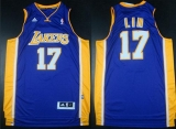 Revolution 30 Los Angeles Lakers #17 Jeremy Lin Purple Road Stitched NBA Jersey
