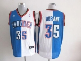 Oklahoma City Thunder #35 Kevin Durant Blue White Split Fashion Stitched NBA Jersey