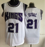 Sacramento Kings #21 Vlade Divac White Throwback Stitched NBA Jersey