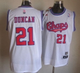 San Antonio Spurs #21 Tim Duncan White ABA Hardwood Classic Stitched NBA Jersey