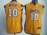Revolution 30 Los Angeles Lakers #10 Steve Nash Yellow Stitched Youth NBA Jersey