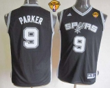San Antonio Spurs #9 Tony Parker Black With Finals Patch Youth Stitched NBA Jersey