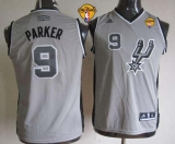 San Antonio Spurs #9 Tony Parker Grey With Finals Patch Youth Stitched NBA Jersey