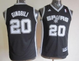 San Antonio Spurs #20 Manu Ginobili Black Youth Stitched NBA Jersey