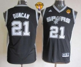 San Antonio Spurs #21 Tim Duncan Black With Finals Patch Youth Stitched NBA Jersey