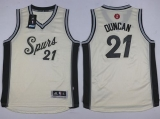 San Antonio Spurs #21 Tim Duncan Cream 2015-2016 Christmas Day Youth Stitched NBA Jersey