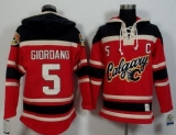 Calgary Flames #5 Mark Giordano Red Black Sawyer Hooded Sweatshirt Stitched NHL Jersey