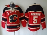 Calgary Flames #5 Mark Giordano Red Sawyer Hooded Sweatshirt Stitched NHL Jersey