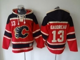 Calgary Flames #13 Johnny Gaudreau Red Sawyer Hooded Sweatshirt Stitched NHL Jersey