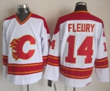 Calgary Flames #14 Theoren Fleury White CCM Throwback Stitched NHL Jersey