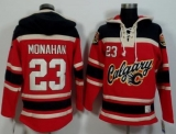 Calgary Flames #23 Sean Monahan Red Black Sawyer Hooded Sweatshirt Stitched NHL Jersey
