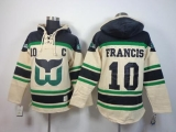 Whalers #10 Ron Francis Cream Sawyer Hooded Sweatshirt Stitched NHL Jersey