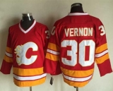 Calgary Flames #30 Mike Vernon Red CCM Throwback Stitched NHL Jersey