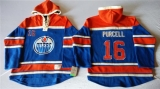 Edmonton Oilers #16 Teddy Purcell Light Blue Sawyer Hooded Sweatshirt Stitched NHL Jersey