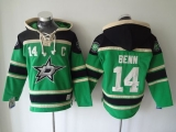 Dallas Stars #14 Jamie Benn Green Sawyer Hooded Sweatshirt Stitched NHL Jersey